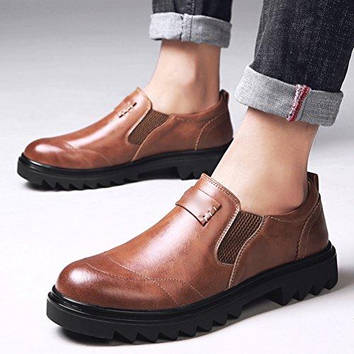 Yiiquan Uomo Basso Punta Tonda Scarpe Mocassini Uomo di PU pelle liscia comode loafers scarpe casual Marrone scuro