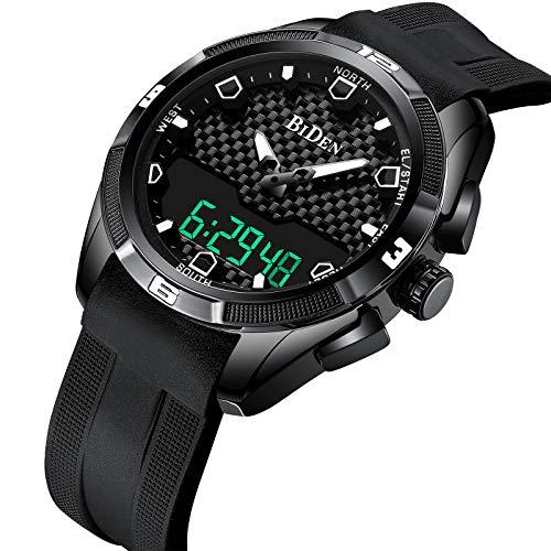 SENSOR Herren Uhr Casual Sport LED Elektronischer Analoge Quarzuhr mit Silikonband Business Mode Wasserdichte Schwarzes Armband -