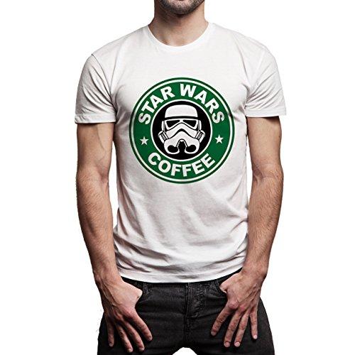 Star Wars Coffe Starbucks Tropher Background Herren T-Shirt Weiß