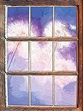 Pusteblumen im morgendlichen Wind Kunst Pinsel Effekt Fenster im 3D-Look, Wand- oder Türaufkleber Format: 62x42cm, Wandsticker, Wandtattoo, Wanddekoration