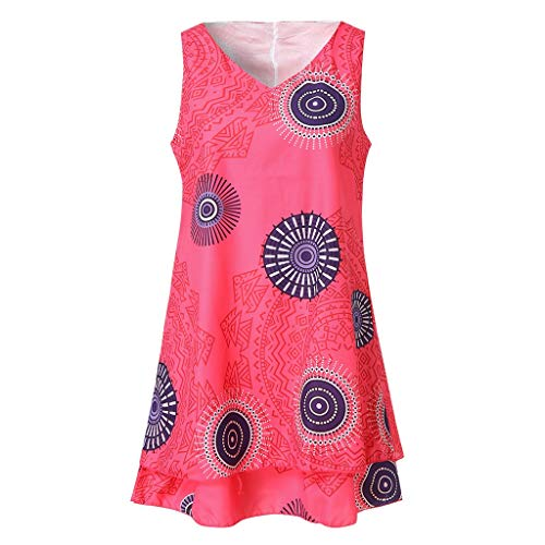 leid Plus Size Print Midi Kleid Loose Shift Sleeveless Tank Vest Sun Dresses ()