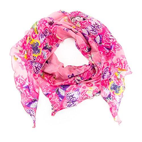 ManuMar Dreiecks-Schal für Damen | feines Hals-Tuch mit Schmetterling-Motiv als perfektes Sommer-Accessoire | Dreiecks-Tuch in pink rosa - Das ideale Geschenk für Frauen