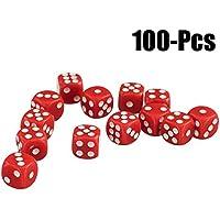 Joyibay Spiel Würfel Einstellen, 100 Stück Spielen Würfel Spielzeug Undurchsichtig Runde Ecke Acryl 6 Seitige Würfel