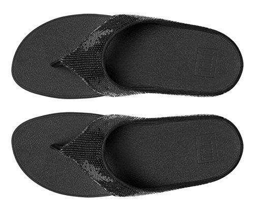 FitFlop Sonnerie Sequin Orteil-post Sandales Noir Noir