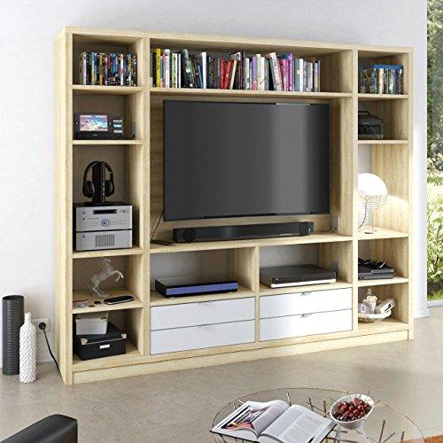 MAJA Raumteiler Wandregal Cableboard 6022 in Sonoma Eiche 220x186x40cm Bücherregal Wohnwand