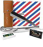 Rasoio a Mano Libera di Sapiens - Accessorio Professionale di Barbiere per Rasatura e Cura dei Contorni di Barba Uomo + 10 Lamette da Barba Derby (cioè 20 Mezze Lame) - Silver Edition