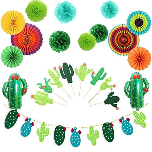 Erosion Fiesta Party Dekorationen Kaktus Banner Girlande Cupcake Toppers hängen Papier Fans für Fiesta Theme Geburtstag Baby Shower Bridal Shower Dekorationen