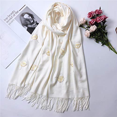 Winter White Cashmere (MINMINA Imitation Cashmere ScarfAutumn and Winter warm Thickening Imitation Cashmere Ladies ShawlFashion Rose Scarf, Milk White)