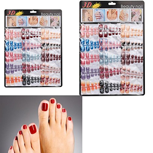 Ouneed® 144 pcs Diamant Faux Ongles Pieds Tattoo Glitter (Colore)
