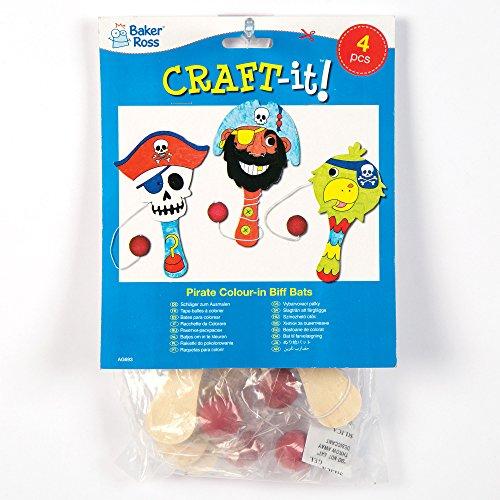 """Paddleballschläger """"Piraten"""" aus Holz für Kinder zum Basteln, Ausmalen und Spielen (4 Stück)"""