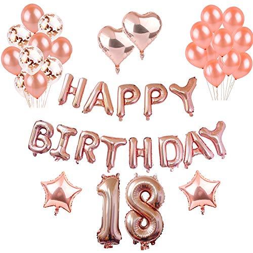 18th Geburtstag Dekorationen Rotgold, Luftballons Party Dekorationen Set, Rose Gold Alles Gute zum Geburtstag Banner Stern Herz Folie Ballon Konfetti Latex Ballons für Party Supplies (18th)