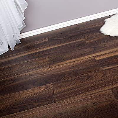 2.22m2 Domestic Commercial AC4 Laminate Flooring - Dark Walnut - 8mm - low-cost UK flooring shop.