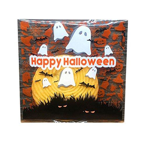 100x Milopon Cellophan Taschen Cellophantüte Gebäcktüten Selbstklebende mit Halloween Muster OPP Kunststoff Tasche für Bäckerei, Süßigkeit, Seife, Plätzchen (Geist) (Halloween Cellophan)