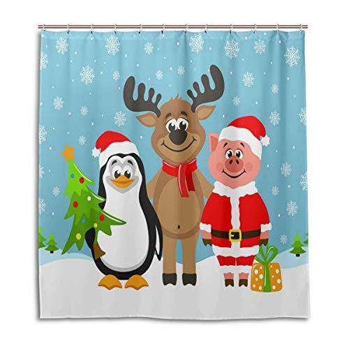 FFY Go Duschvorhang, lustiges Rentier, Pinguin, süßes Schwein, Weihnachtsmann, Kostüm, wasserdicht, schimmelresistent, waschbar, Polyester, mit langlebigen Haken für Badezimmer und Zuhause