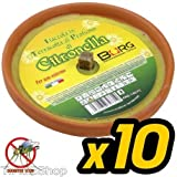 tradeshoptraesio–Packung 10x Kerze Citronella in terracotta Durchmesser 10cm Mückennetz