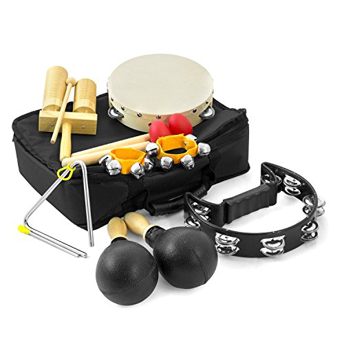 8 Player Classroom Percussion Pack - Package of Percussion Instruments including Triangle, Shakers, Tambourines, Agogo, Claves, Maracas and Bells - Comes with Handy Carry Bag