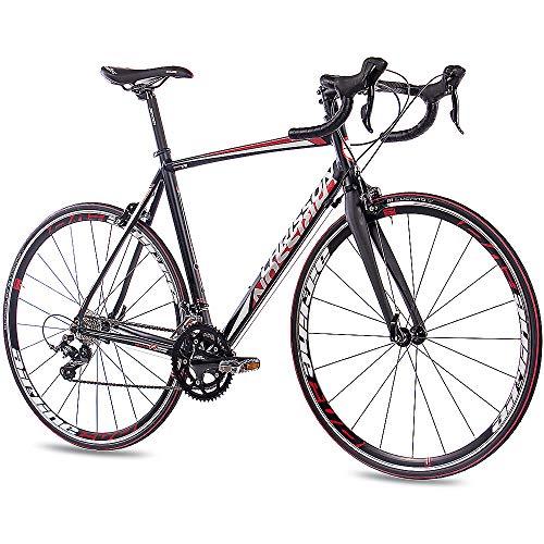 CHRISSON 28 Zoll Rennrad Road Bike - Reloader schwarz 59 cm mit 18 Gang Shimano Sora Schaltung - Straßenrennrad mit Carbon Gabel für Damen und Herren