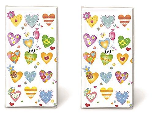 20 Taschentücher (2x 10) Taschentücher Farbenfrohe Herzen / Hochzeit / Freudentränen