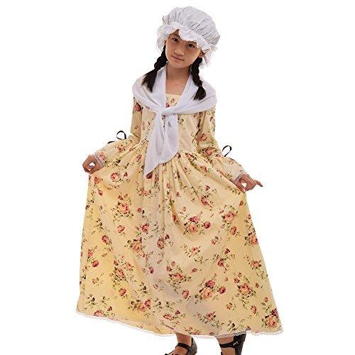 Kinder Kostüm Edwardian - GRACEART Kinder viktorianischen Maid Kostüm (14, Gelb)