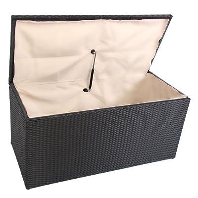 Kissenbox Aufbewahrungstruhe RomV, 118 cm, 360l, Poly-Rattan mit Dämpfung ~ schwarz