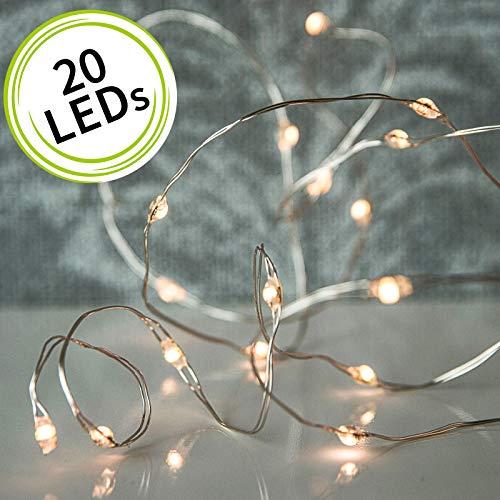 arts LED Micro Ketten Lichterkette LED mit silbernen Draht - batteriebetrieben (AA) mit 6 Stunden Timer (20 LEDs)