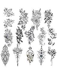 Konsait 14 feuilles Sexy Réaliste Fleur Tatouages Temporaires Pour Adulte Femme Enfants Noir Tattoos Éphémères Étanches Rose Fleur Grand Bras Faux Autocollants De Tatouage