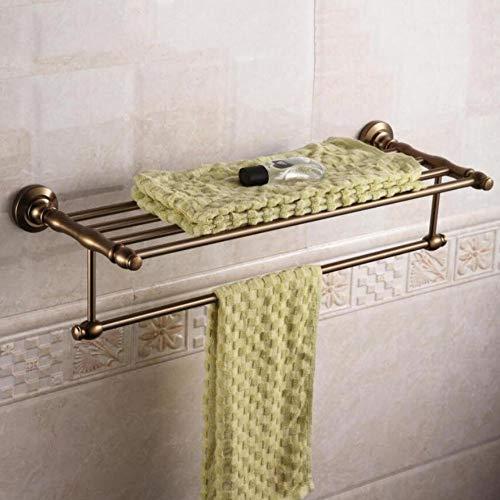 HUIJIN1 Europäisches Retro-Bad-Handtuch-Regal, Öl geschrubbt Bronze-Bad-Handtuch-Regal mit Einer Bar, gebürstete Nickel fertig, rostsicher für Badezimmer -