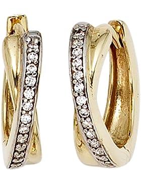 15,3mm Creolen Klappcreole Ohrringe Zirkonia Ringe 333 Gold Gelbgold
