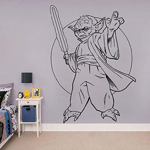 guijiumai Yoda Aufkleber, Yoda Vinyl Aufkleber Wandtattoos Wandbilder Kinder Kinder Jugendliche Jungen Zimmer Schlafzimmer Wohnheim Wohnkultur weiß 85x117 cm