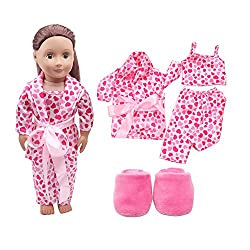 IGEMY _ 5pcs Clothes Shoes Pajamas Set For American Girl Doll Clothes Set For 18 Inch American Girl Doll ,Our Generation and Other 18 Inch Dolls (Pink)