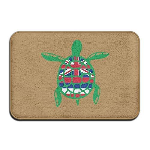 deyhfef Inside & Outside Floor Mat Hawaiian Flag Sea Turtl Design Pattern for Patio Or Entryway -