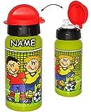 alles-meine.de GmbH Trinkflasche / Sportflasche - auslaufsicher -  Fußball & Fußballspieler  - incl. Name - aus Aluminium 420 ml - für Kinder Aluflasche 0,4 Liter / 400 ml - FL..