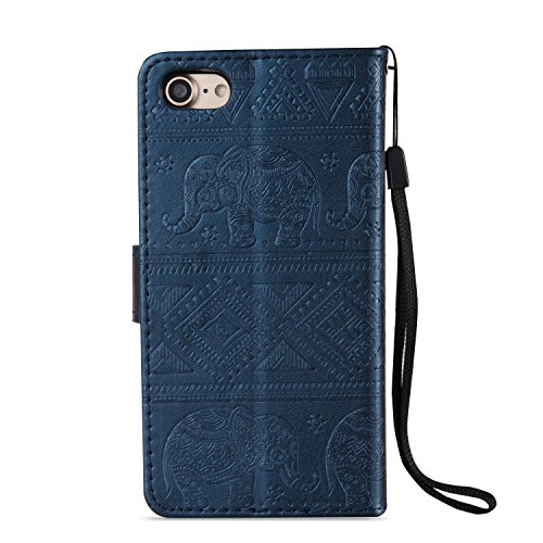 EKINHUI Case Cover Für Apple IPhone 7 Premium Leder Schutzhülle, weiche PU / TPU geprägte Textur Horizontale Flip Stand Case Cover mit Lanyard & Card Cash Holder ( Color : Red ) Blue