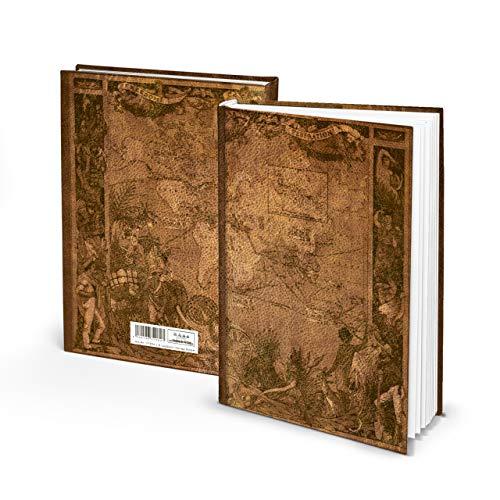 Logbuch-Verlag XXL Notizbuch A4 Reisebuch ALTE WELT Leder-Optik braun natur Vintage Buch zum Selberschreiben leer LINIERT 128 Seiten DIY Reisetagebuch (Leder-bücher)