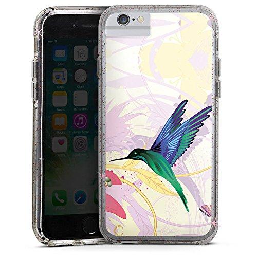 Apple iPhone 7 Bumper Hülle Bumper Case Glitzer Hülle Kolibri Vogel Bird Bumper Case Glitzer rose gold