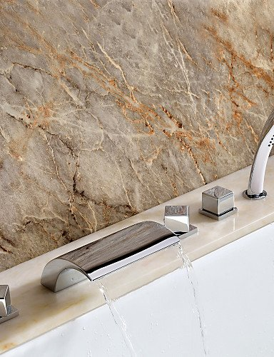 AI LI WEI Bathroom Furniture - Contemporary Waterfall Tub Faucet with Hand Shower - Chrome Finish