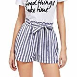 Damen-beiläufige gestreifte hohe Taillen-Hosen-elastische Taillen-beiläufige High-Waist taillierte Shorts Hot Pants Sexy Sommer Strand-Hosen Blau-Weiß Streifen (S)