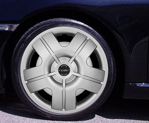 """Lot de 4enjoliveurs Lido Argent 14""""Volkswagen VW Corrado, Fox, Golf 2, 3, 4, Cabrio, VENTO, JETTA"""