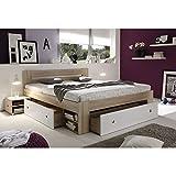 Futonbett mit 2 Nachttische und 3 Schubkästen Sonoma Eiche/Weiß MDF 204x145 cm