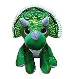 Peluche de Dinosaurio Triceratops de Color Verde y Gris 11'/28cm Calidad Super Soft