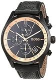 Hugo BOSS Unisex Chronograph Quarz Uhr mit Leder Armband 1513550