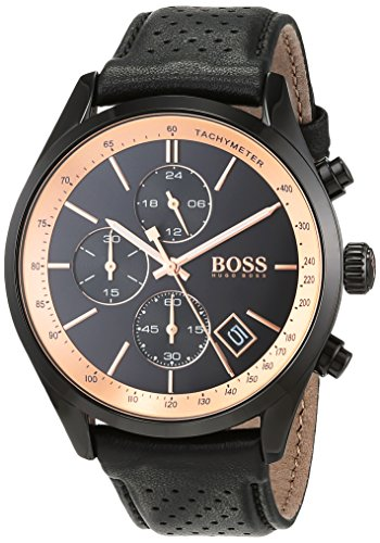 Hugo BOSS Unisex-Adult Chronograph Quartz Watch with Leather Strap 1513550