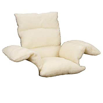 pillow armchair. faux sheepskin comfort lower back support upright armchair pillow cushion - cream. (pack of