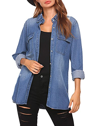 FastDirect Women's Denim Jackets Long Sleeve Loose Lapel Jean Jacket Coats