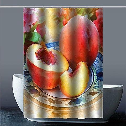 Coutume Peach Blossom Fleur de Pêche 100% polyester usine Rideau de douche Shower Curtain, Polyester, B, 48x72(inches)