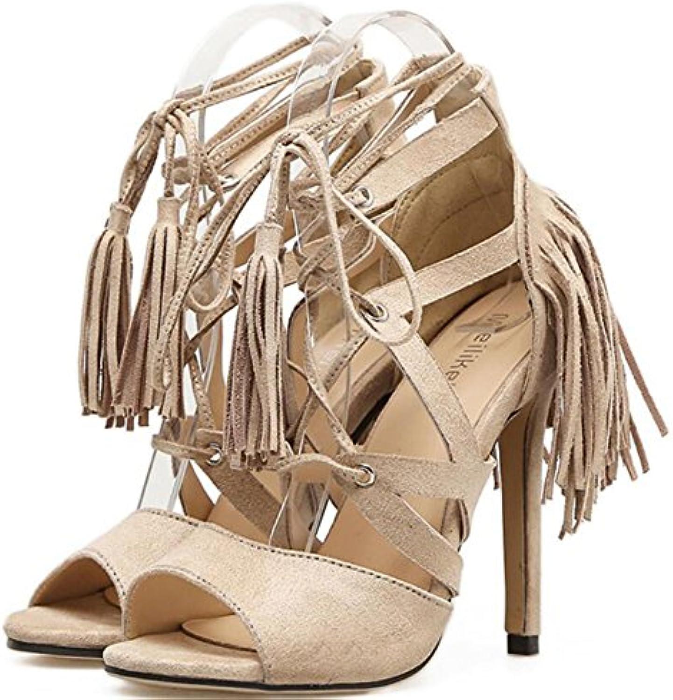 GAOLIXIA Zapatos de Mujer de Verano Fino con Sandalias Romanas de Tacón Alto Margen de Confort con Zapatos de...