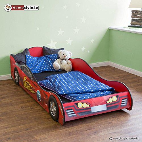 Rennwagenbett Autobett Kinderbett Spielbett Jugendbett Lattenrost Rot Bett