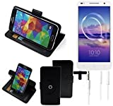 K-S-Trade® Case Schutz Hülle für Alcatel U5 HD Dual SIM + Earphones Handyhülle Flipcase Smartphone Cover Handy Schutz Tasche Walletcase schwarz (1x)