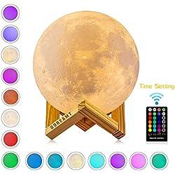"""Lámpara de Luna, 16 Colores 15cm 3D Control Remoto & Tactil/Función de Temporizador/Carga Universal USB/Regulable Lámpara de Noche 5.9"""" (Nuevo)"""