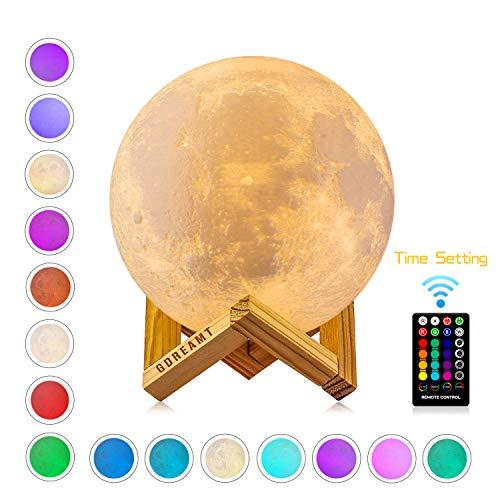 Mondlampe, GDREAMT 16 Farben 3D Mond lampe 15 cm, Remote & Touch Control/Timing-Funktion/Dimmbar/ USB Wiederaufladbare Nachtlampe Dekorative Licht für Kinder Geschenk (15CM) (Hängen Kugeln Decke Weihnachten Von Der)